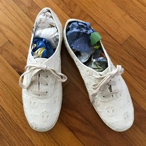 Keds Eyelet Lace Sneakers, Ivory 8.5